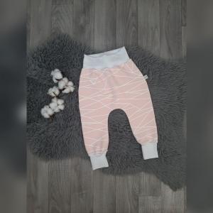 Pumphose / Mitwachshose / Babyhose Gr86 - Sweat Striche rosa/weiß  - Handarbeit kaufen