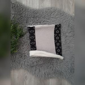 Loop / Fleeceloop Baby/Kind - ab KU49cm - Jersey Kronen/Sterne schwarz  - Handarbeit kaufen