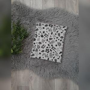 Loop / Fleeceloop  Baby/Kind - ab Ku46cm - Jersey Blätter grau/schwarz  - Handarbeit kaufen