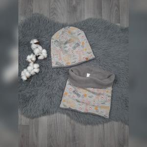 Set Loop & Beanie/Wintermütze Baby/Kind - KU49-51cm -Jersey/Fleece Baustelle grau - Handarbeit kaufen