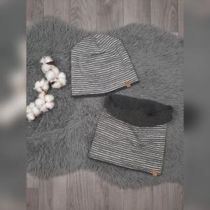 Set Loop & Beanie / Fleecemütze / Wintermütze Baby/Kind - KU 49-51cm - Jersey/Fleece Streifen grau/weiß  - Handarbeit kaufen