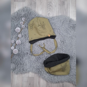 Set Loop & Beanie / Fleecemütze / Wintermütze Baby/Kind - KU 46-48cm - Sweat/Fleece Hirsch Khaki/schwarz - Handarbeit kaufen