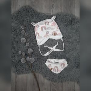 Newborn Set Babymütze / Bärchenmütze & Halstuch KU36-38cm - Sweat/Fleece Regenbogen rosa (Littlelove Design) - Handarbeit kaufen