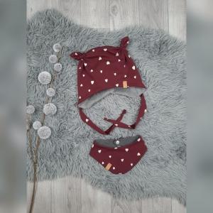 Newborn Set Babymütze / Bärchenmütze & Halstuch KU36-38cm - Sweat/Teddy Herzen gold/bordeaux - Handarbeit kaufen