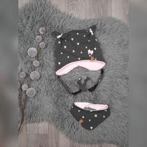 Newborn Set Babymütze / Bärchenmütze & Halstuch KU36-38cm - Sweat/Fleece Herzen anthrazit/gold/rosa - Handarbeit kaufen