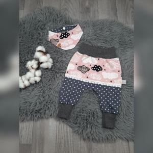 Set Gr62 Pumphose & Halstuch - Jersey Wolken rosa/Punkte grau Spitze - Handarbeit kaufen
