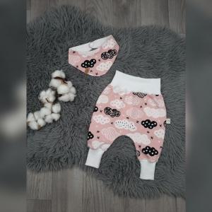 Newborn Set Babyhose/Pumphose & Halstuch - Jersey Wolken rosa  - Handarbeit kaufen