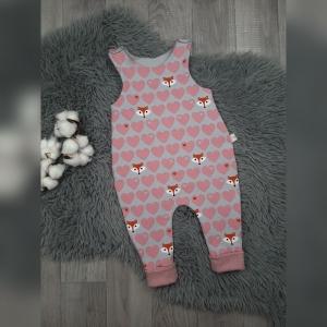 Newborn Strampler / Romper Gr62 - Sweat Fuchs/Herzen rosa/grau  - Handarbeit kaufen