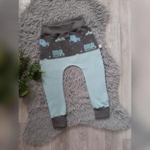 Pumphose / Mitwachshose / Babyhose  Gr44-116 - Sommersweat dusty blau + Autos  (Littlelove Design) - Handarbeit kaufen
