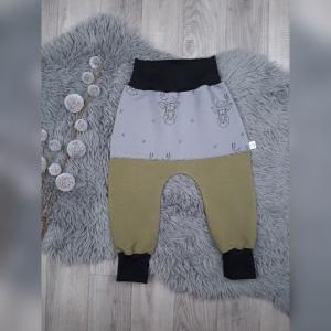 Pumphose / Mitwachshose / Babyhose  Gr44-116 - Sommersweat  Khaki + Hirsch grau  - Handarbeit kaufen