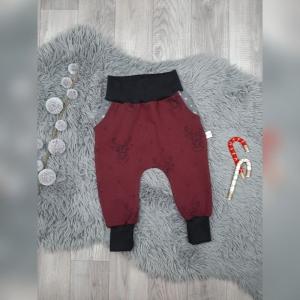 Pumphose / Mitwachshose / Babyhose  Gr44-92 - Sweat Hirsch bordeaux mit Taschen - Handarbeit kaufen