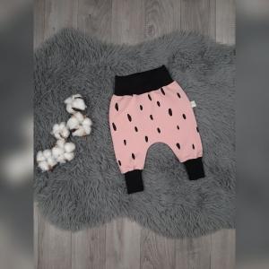 Pumphose / Mitwachshose / Babyhose  Gr44-92 - Sweat Rosa mit schwarzen Strichen - Handarbeit kaufen