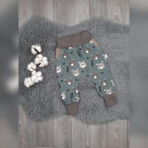 Pumphose / Mitwachshose / Babyhose  Gr44-68 - Sweat Bärenbande grün  - Handarbeit kaufen
