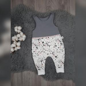 Newborn Strampler / Romper  Baby Gr 44-92 - Sweat  Kleckse rosa/grau/schwarz mit Spitze - Handarbeit kaufen