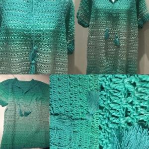 Sommer Damen Pulli in der Größe 46/48 aus Baumwolle gehäkelt - Handarbeit kaufen