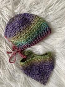 Babymütze mit passendem Tuch 0 - 3 Monate - Handarbeit kaufen