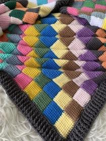 Mosaik Babydecke aus Baumwolle gehäkelt - Handarbeit kaufen