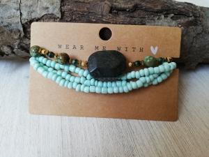 Machbar Wickelarmband und Armband mint braun flexibel - Handarbeit kaufen
