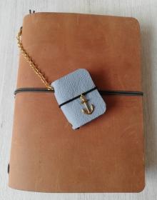 Machbar Schlüsselanhänger Taschenanhänger Mini Ledernotizbuch hellblau - Handarbeit kaufen