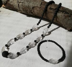 Machbar Lava + Bergkristall Kette und passendes Armband flexibel - Handarbeit kaufen