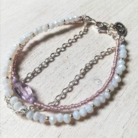 Machbar Armband 3 ins 1 Amethyst Glasschliffperlen Toho Perlen - Handarbeit kaufen