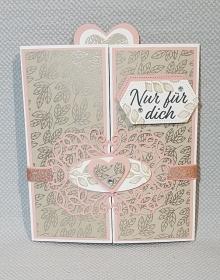 Schöne Grußkarte zum aufklappen zu Valentinstag für jemand besonderes - Handarbeit kaufen