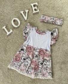 Babykleid/Mädchenkleid in Größe 62/68 mit passendem Stirnband/Haarband - Handarbeit kaufen