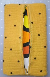 Handmachte selbst genähte Taschentüchertasche tatüta gelb