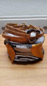 Korkarmband mit Hämatit Herz Perle und Swarovski Kristall - Wickelarmband