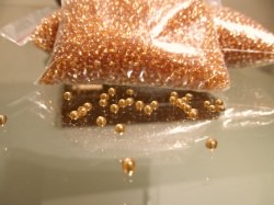 Glasperlen- Rocailles  35 gramm- Vorratspackung -silverline- Farbe Topaz
