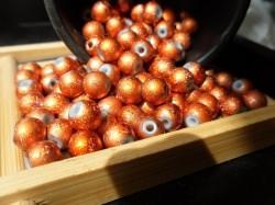 Lackierte Glasperlen 8mm, Kupfer farbend metallic effekt