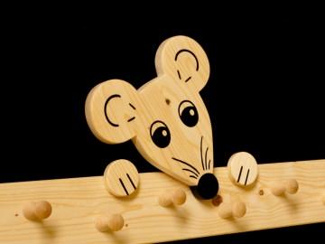 Kindergarderobe Maus 9 Haken Holz Garderobenleiste Garderobenhaken Garderobe