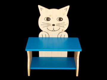 Kinderbank Katze blau Schuhbank Sitzbank Holzbank Schuhregal Bank aus Holz 50 cm