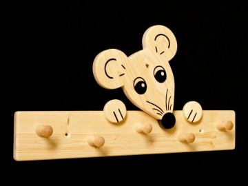 Kindergarderobe Maus 5 Haken (Holz Garderobenleiste Garderobenhaken Garderobe)