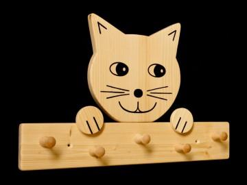 Kindergarderobe Katze 5 Haken (Holz Garderobenleiste Garderobenhaken Garderobe)