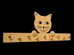 Kindergarderobe Katze 9 Haken (Holz Garderobenleiste Garderobenhaken Garderobe) - Handarbeit kaufen