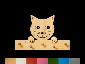Kindergarderobe Katze (Wunschfarbe Leiste) 5 Haken Holz Garderobenleiste Garderobenhaken Garderobe