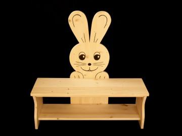 Kinderbank Hase aus Holz (Sitzbank für Kinder, Schuhbank, Kindersitzbank)