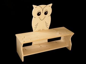 Kinderbank Eule aus Holz (Sitzbank für Kinder, Schuhbank, Kindersitzbank)