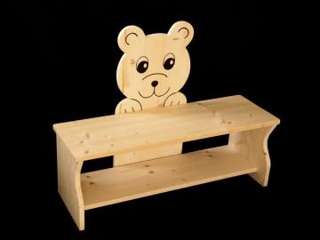 Kinderbank Bär aus Holz (Sitzbank für Kinder, Schuhbank, Kindersitzbank)