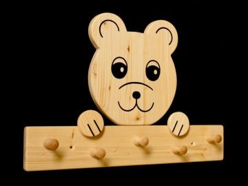 Kindergarderobe Bär 5 Haken (Holz Garderobenleiste Garderobenhaken Garderobe) - Handarbeit kaufen