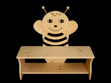 Kinderbank Biene aus Holz (Sitzbank für Kinder, Schuhbank, Kindersitzbank)
