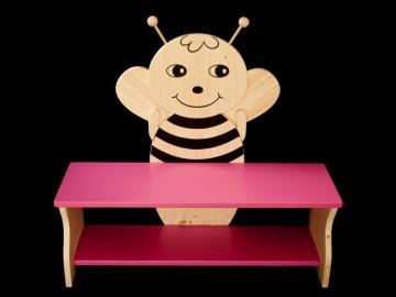 Kinderbank Biene rosa Schuhbank Sitzbank Holzbank Schuhregal Bank aus Holz 80 cm