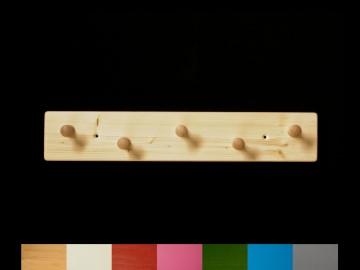 Garderobe mit Wunschfarbe aus Holz mit 5 Haken (Garderobenleiste Garderobenhaken)