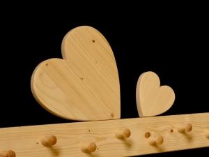Kindergarderobe Herz 9 Haken Holz Garderobenleiste Garderobenhaken Garderobe