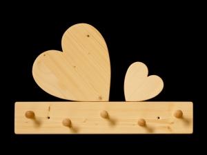 Kindergarderobe Herz 5 Haken (Holz Garderobenleiste Garderobenhaken Garderobe)