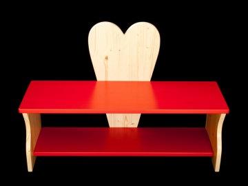 Kinderbank Herz rot Schuhbank Sitzbank Holzbank Schuhregal Bank aus Holz 80 cm