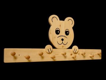 Kindergarderobe Bär 9 Haken (Holz Garderobenleiste Garderobenhaken Garderobe) - Handarbeit kaufen