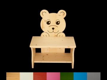Kinderbank Bär mit Wunschfarbe komplett lackiert (Kindersitzbank aus Holz, Schuhbank, Sitzbank für Kinder) - Handarbeit kaufen
