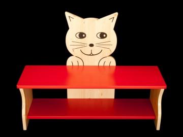 Kinderbank Katze rot und klar lackiert (Kindersitzbank aus Holz, Schuhbank, Sitzbank für Kinder)